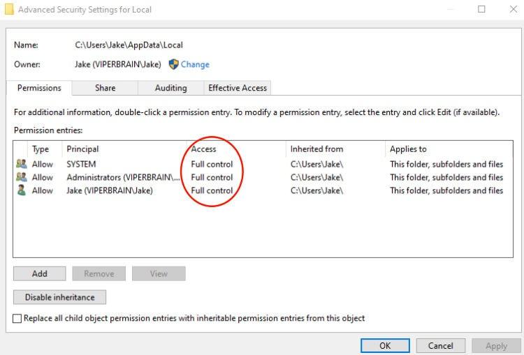 Скриншот окна параметров папки Local.